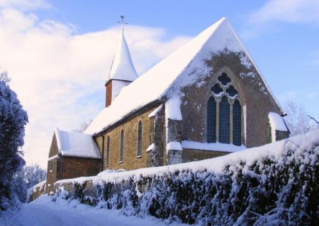 warminghurst church in snow