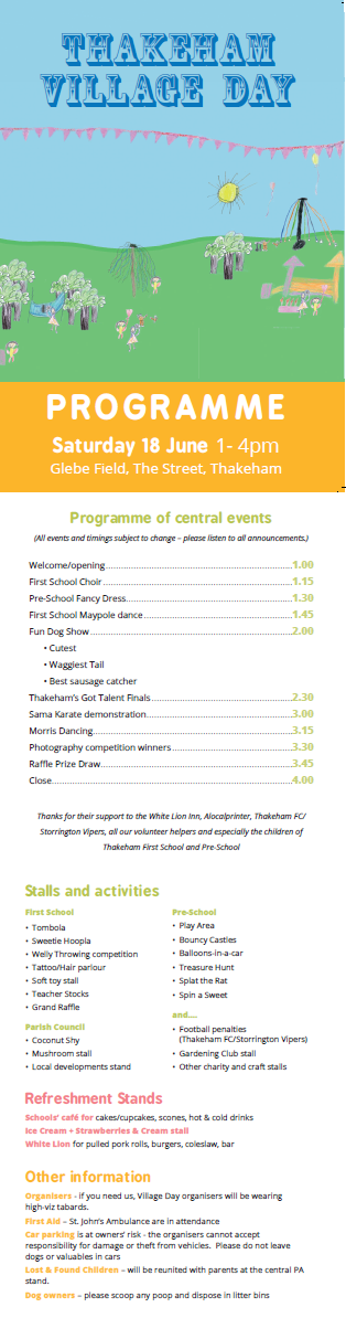 Village Day 2016 programme edit