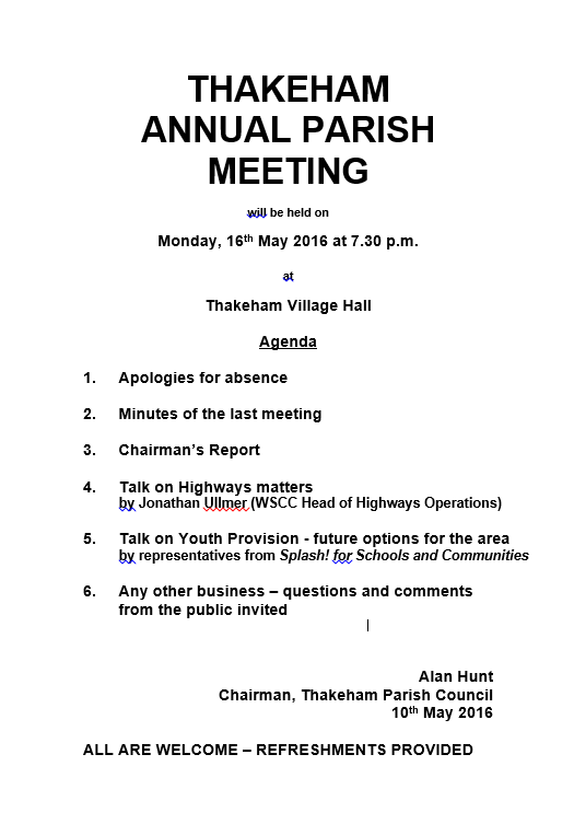 Annual Parish Meeting 16 May