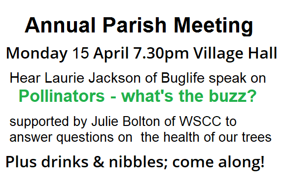 Annual Parish Meeting Mon 15 April 7.30pm