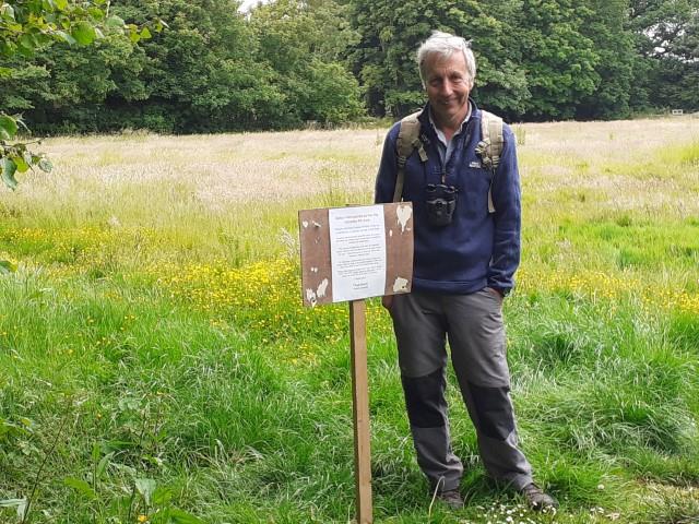 Dr Tony Whitbread surveying the Glebe Field June 2020