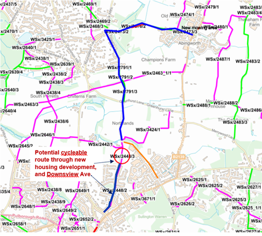 Overview map of bridleway connection between Thakeham and Storrington